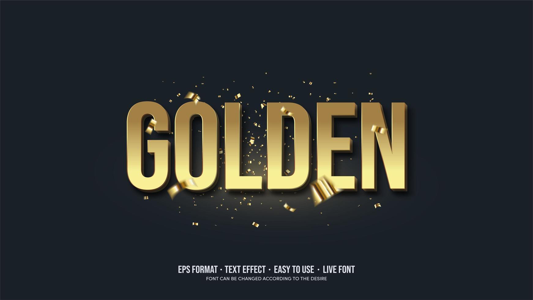effet de texte doré avec écriture 3d en or. vecteur