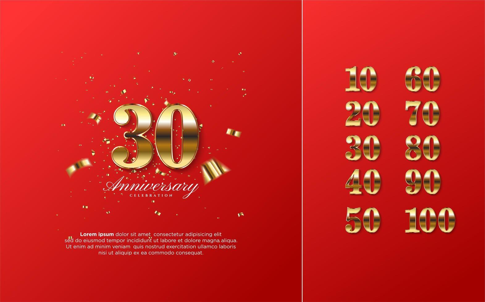 chiffres de célébration de 10 à 100 avec un 3d doré vecteur