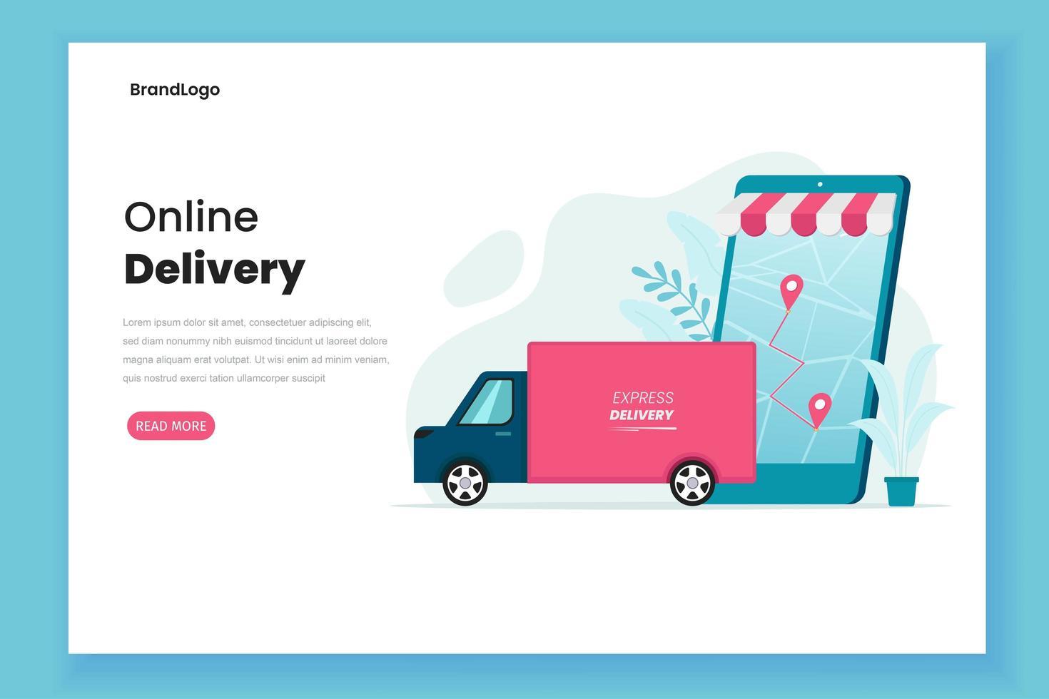 page de destination du concept de service de livraison vecteur