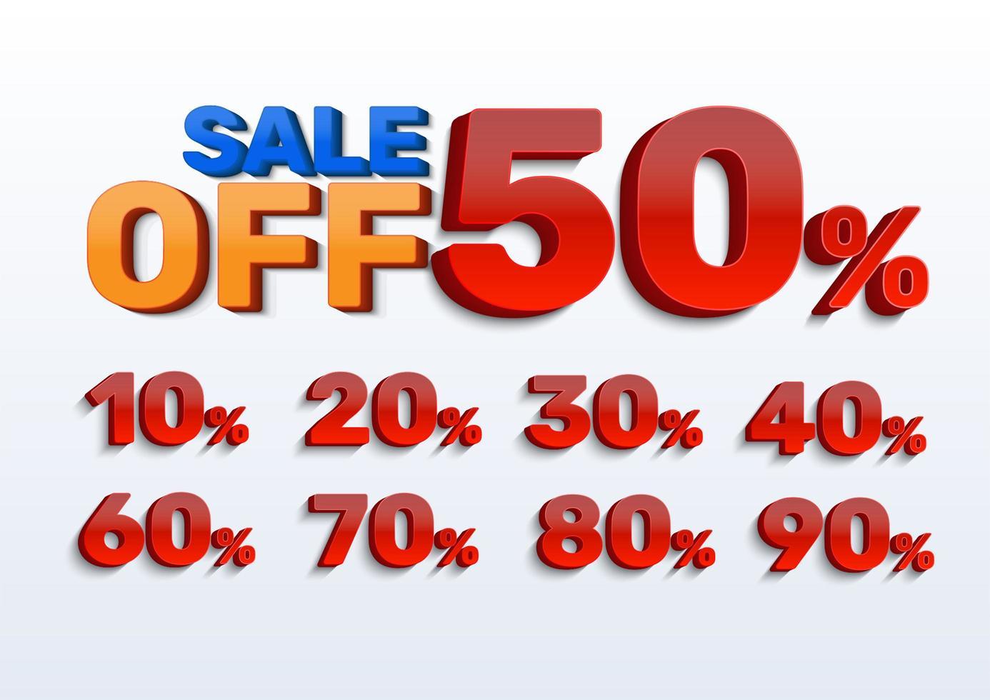 vente et pourcentage fixé pour la publicité vecteur