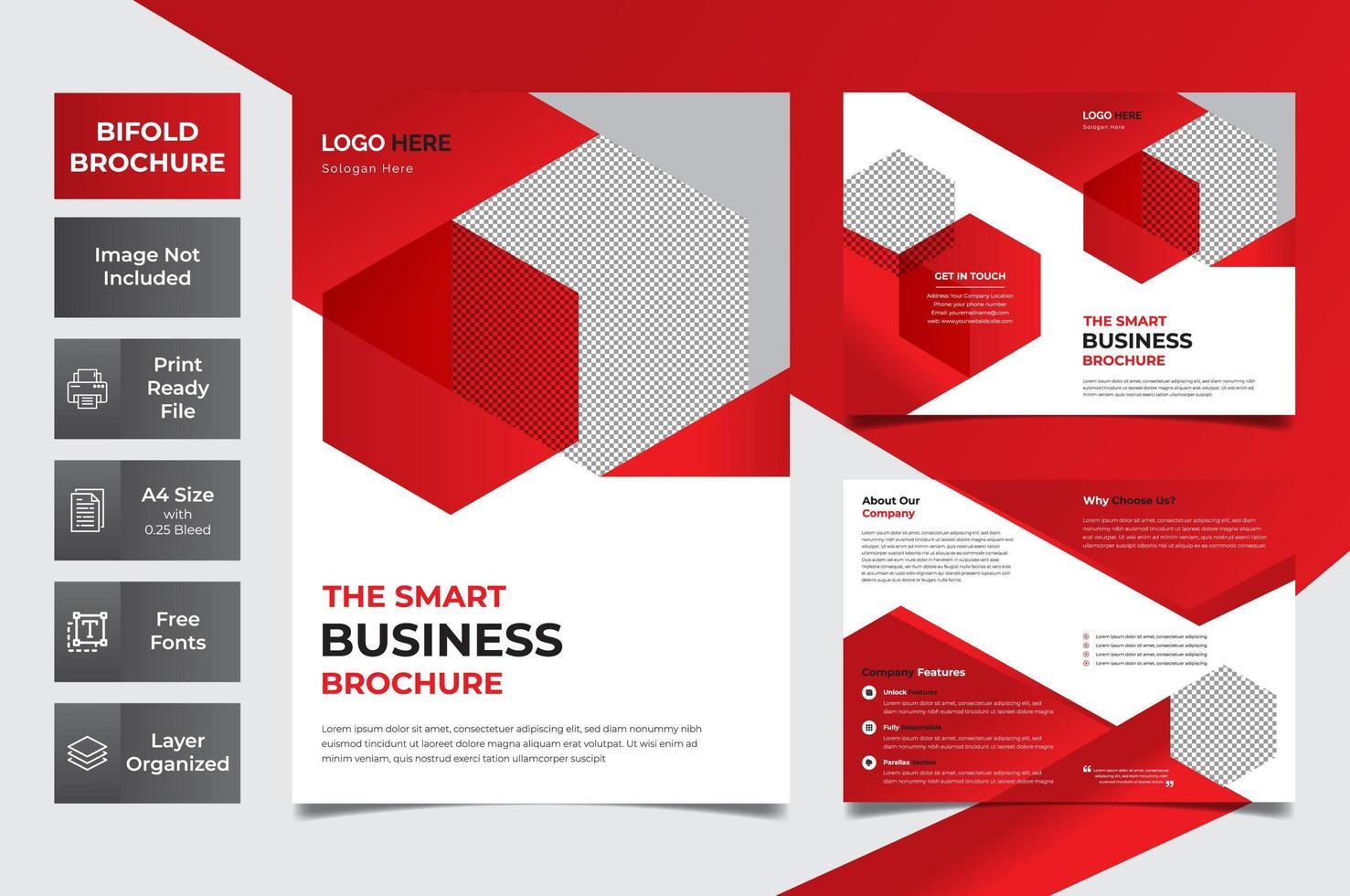 brochure d'entreprise rouge et blanche à deux volets vecteur