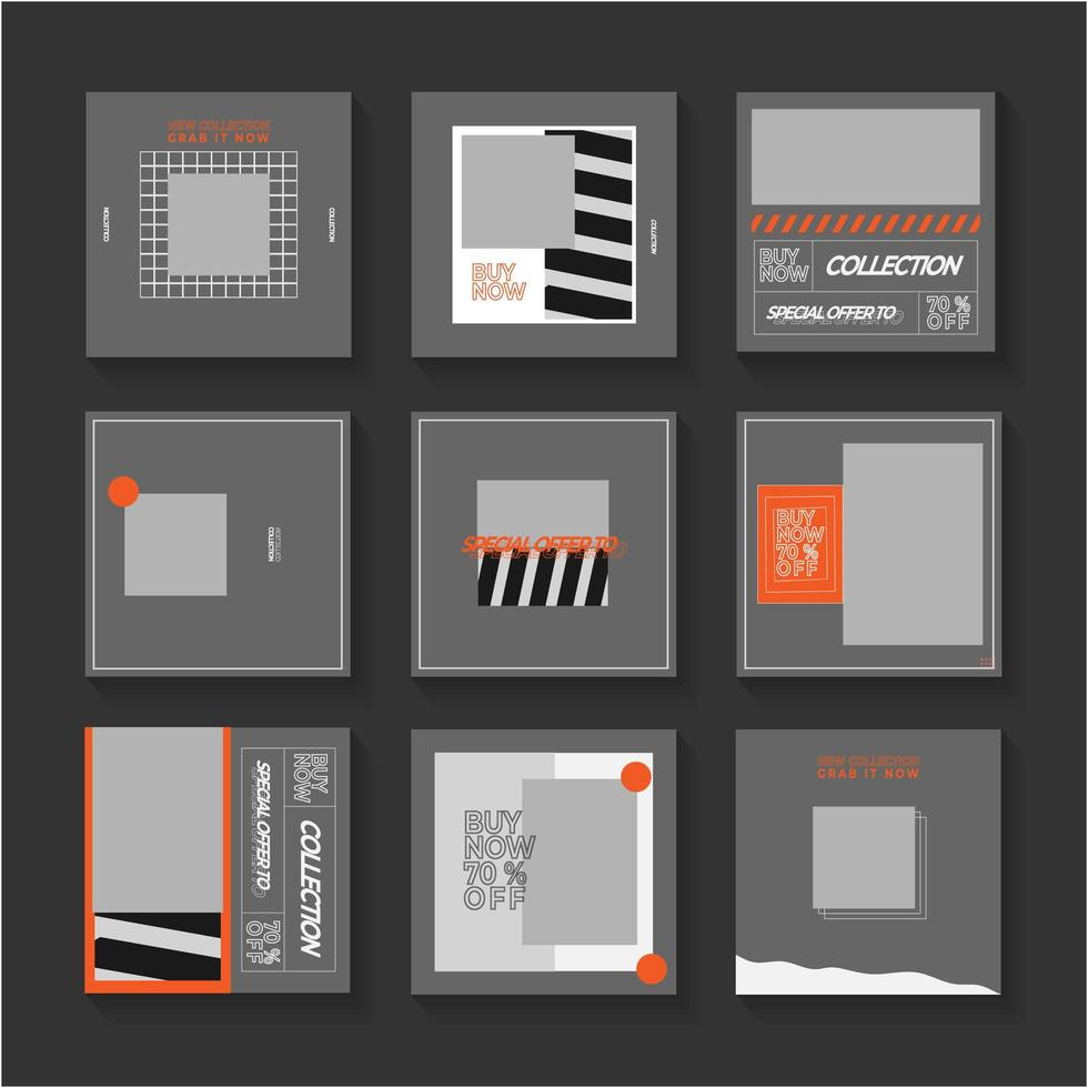 ensemble de publication de médias sociaux gris et orange vecteur