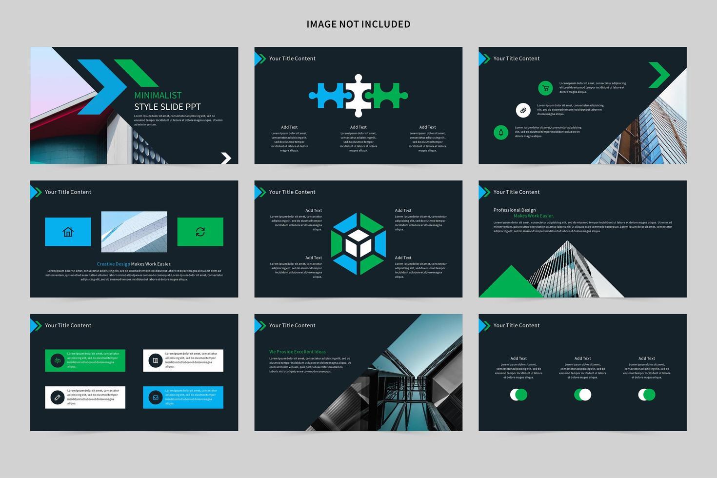 ensemble de diapositives minimaliste bleu et vert vecteur