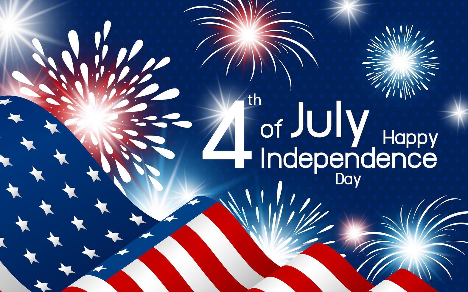 affiche de la fête de l'indépendance heureuse avec drapeau et feux d'artifice vecteur