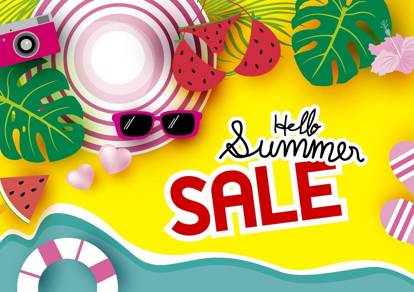 bannière de vente d'été avec scène de plage vue de dessus vecteur