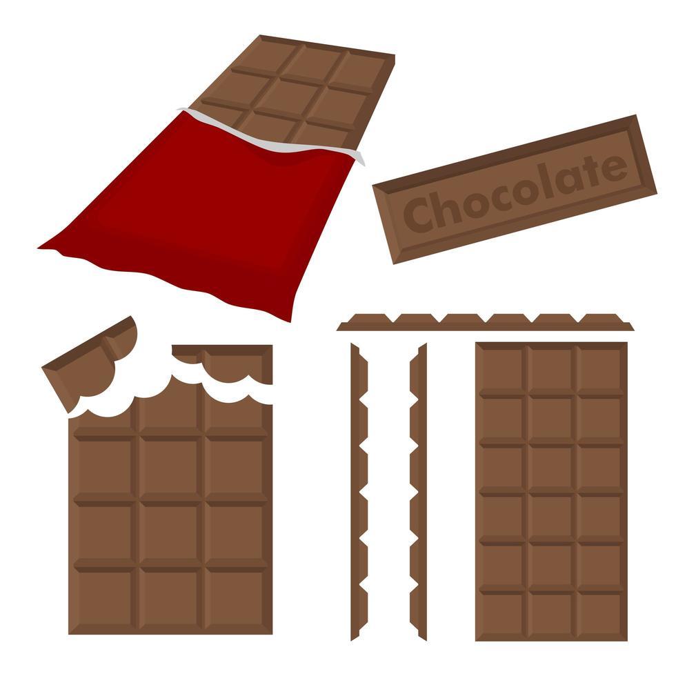 barre de chocolat avec emballage vecteur