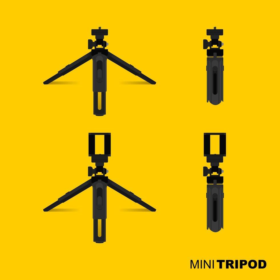 mini trépied noir pour appareil photo et mobile vecteur
