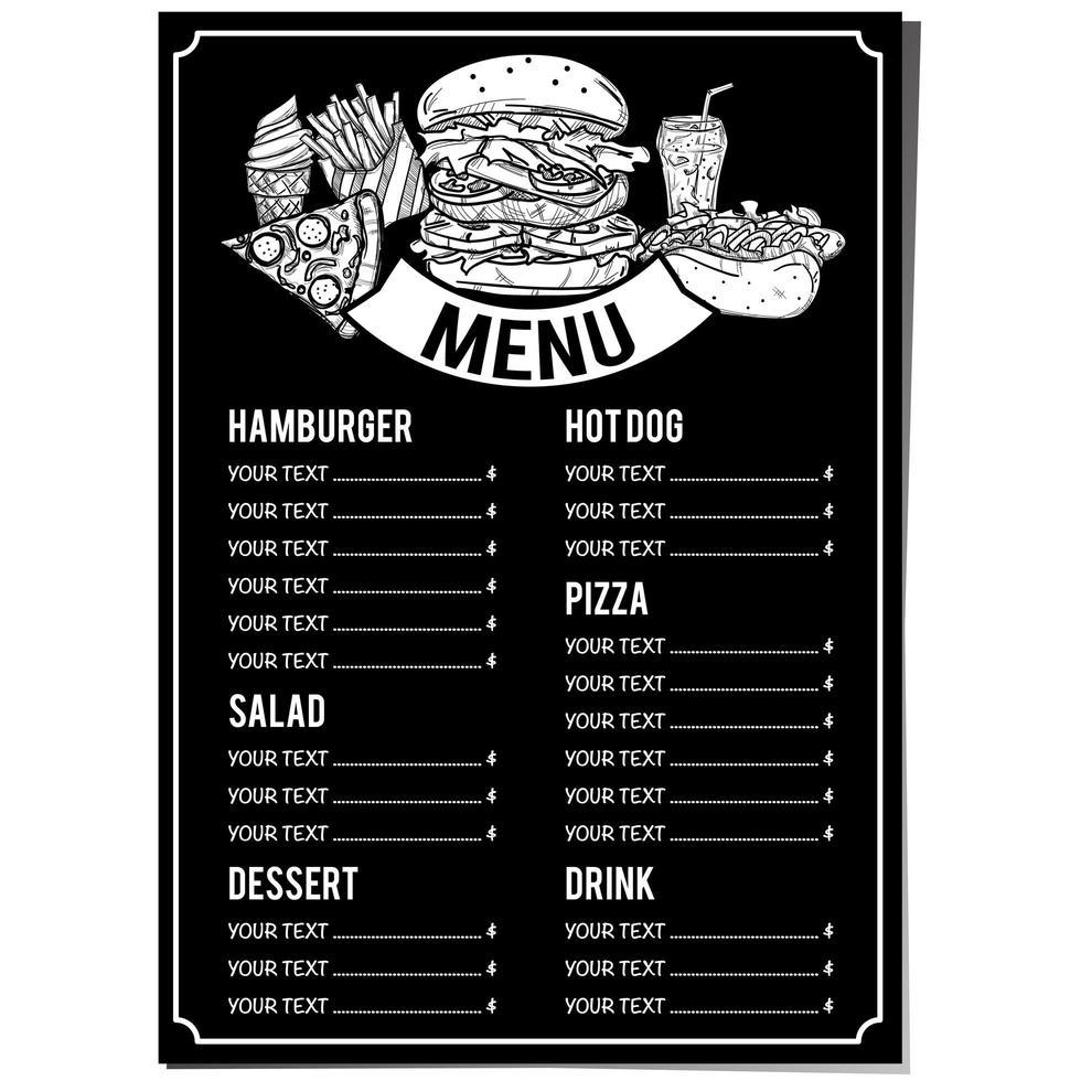 modèle de menu alimentaire noir et blanc dessiné à la main vecteur
