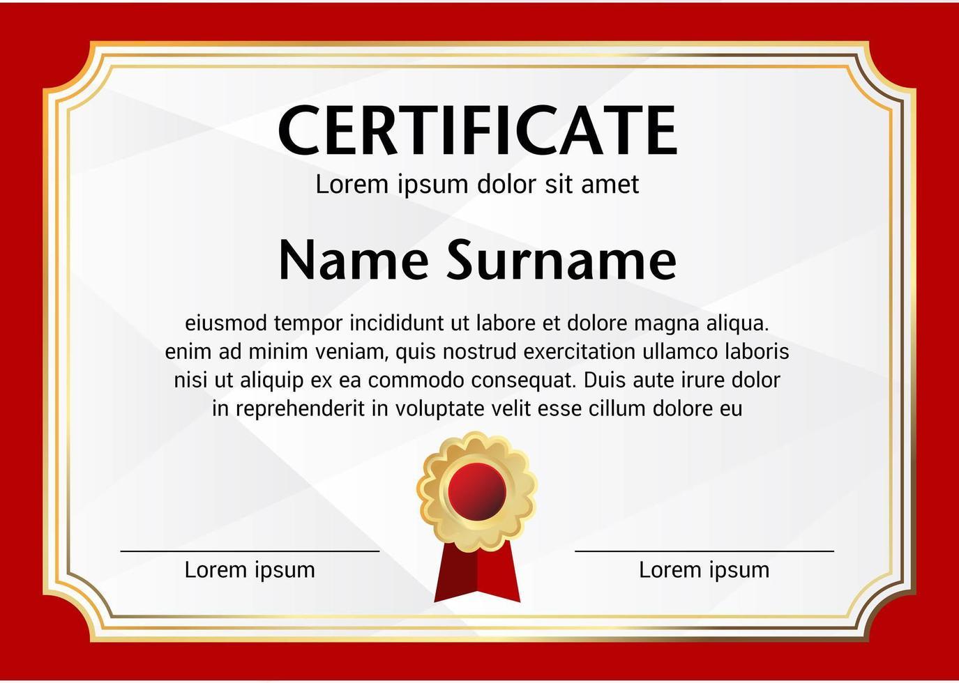modèle de certificat de frontière rouge vecteur
