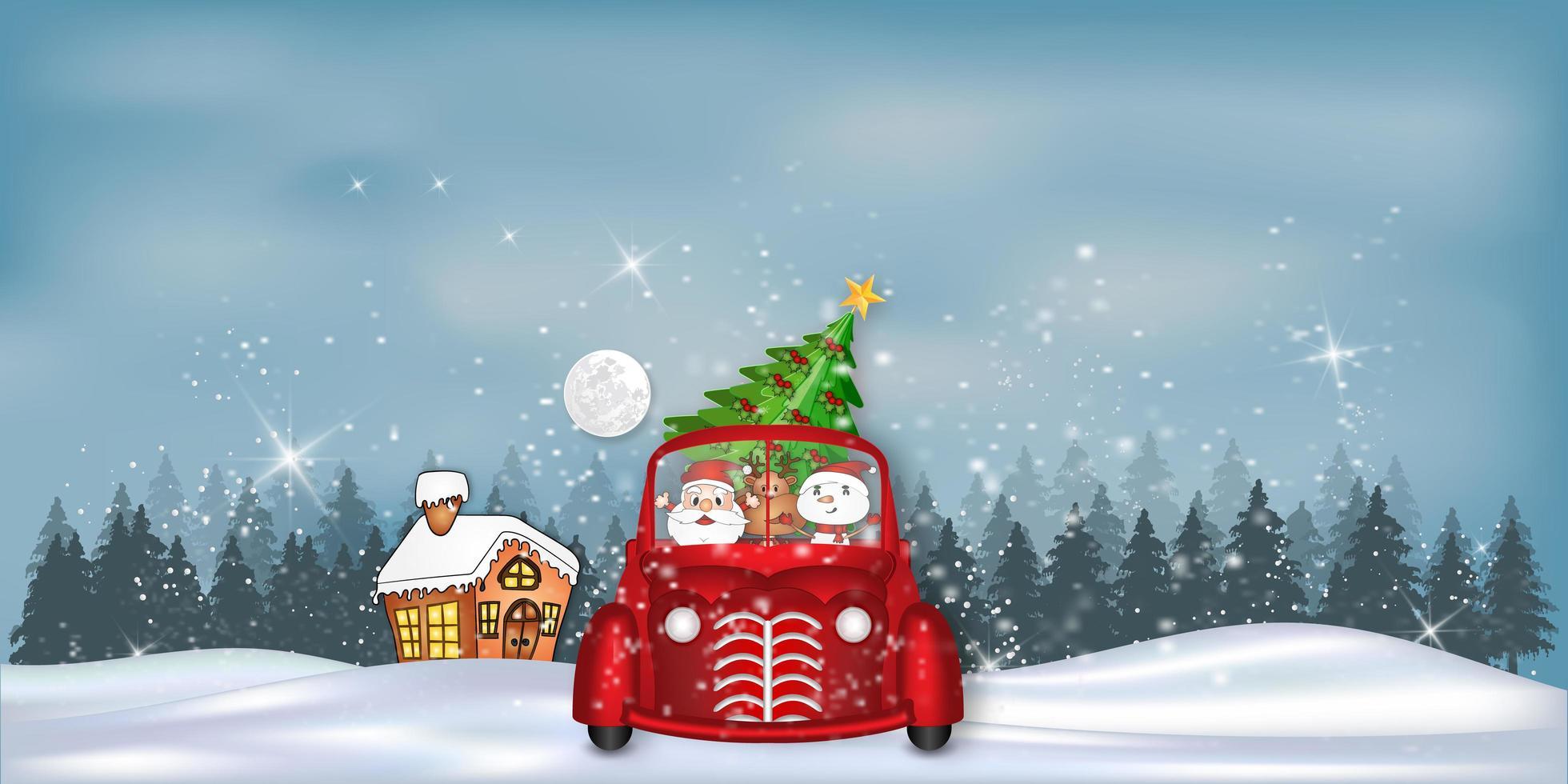 paysage d'hiver avec le père Noël, les rennes et le bonhomme de neige en voiture vecteur