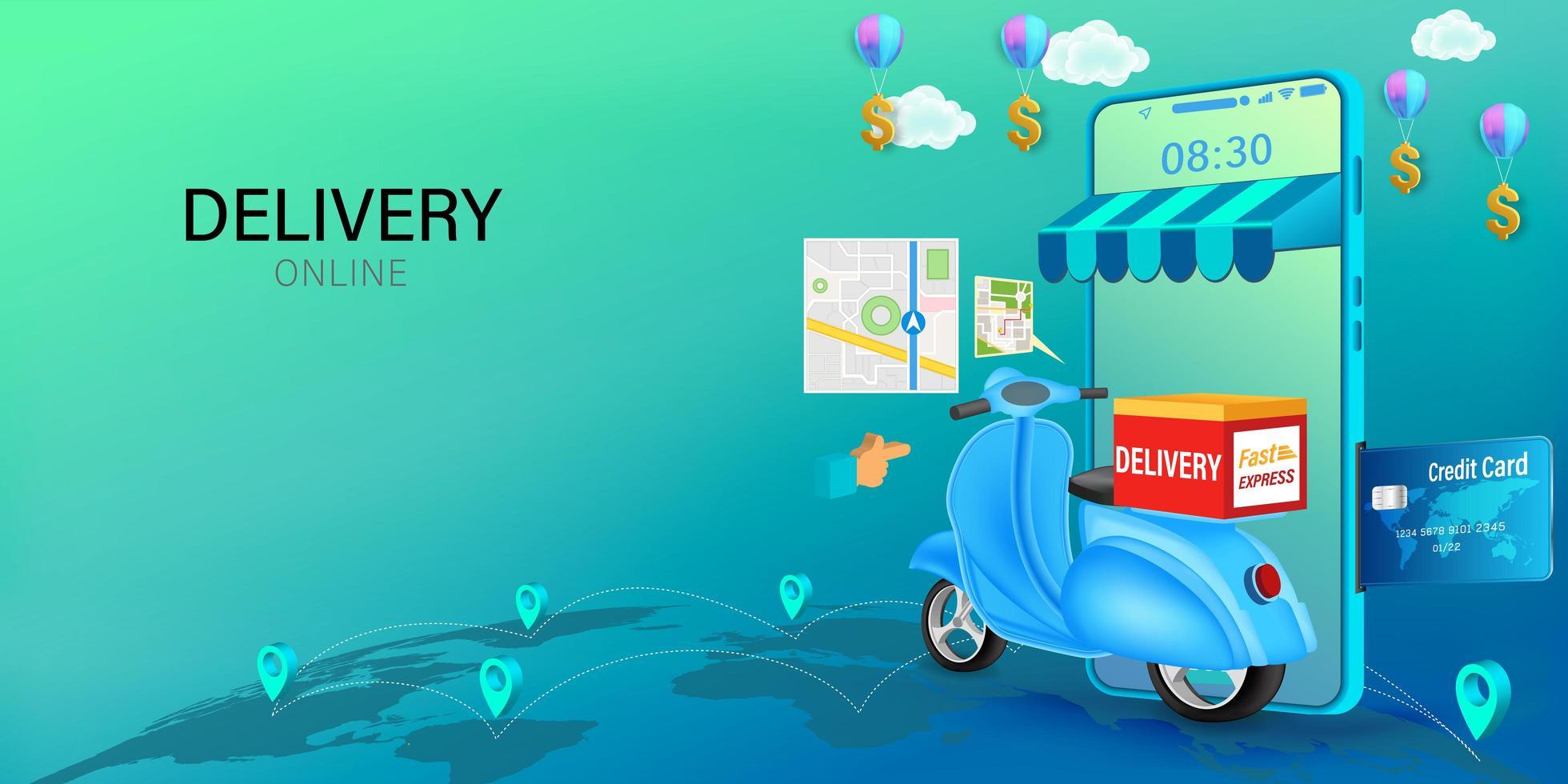 livraison en ligne sur mobile avec concept scooter vecteur