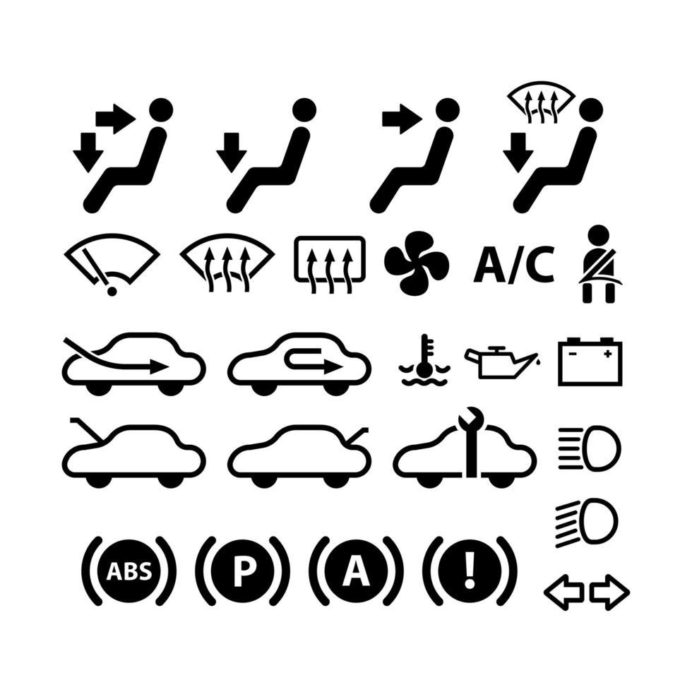 icône et symbole de tableau de bord de voiture vecteur