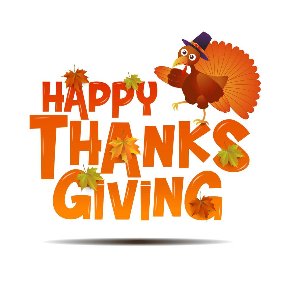 typographie joyeux thanksgiving avec la dinde vecteur