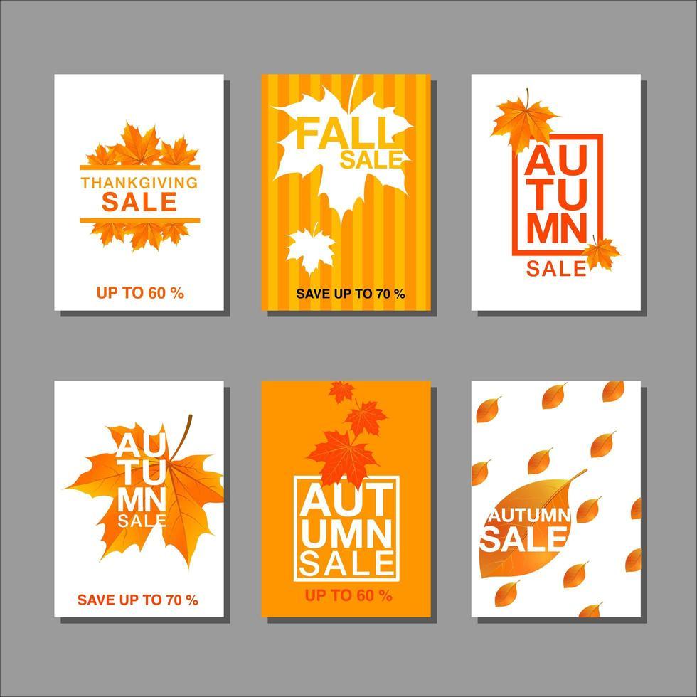 jeu de cartes de vente automne vecteur