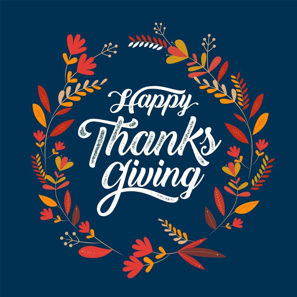 affiche de typographie joyeux thanksgiving avec cadre de feuille vecteur