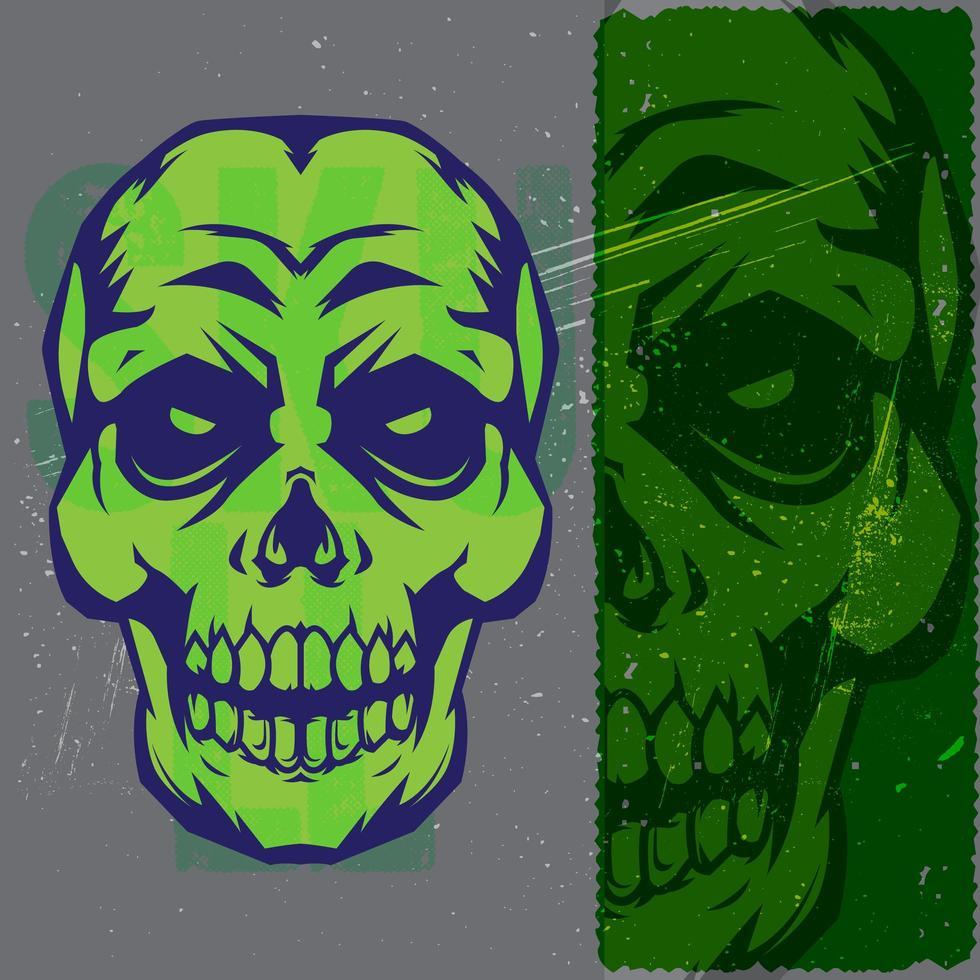 tête de crâne vert et bleu vintage vecteur