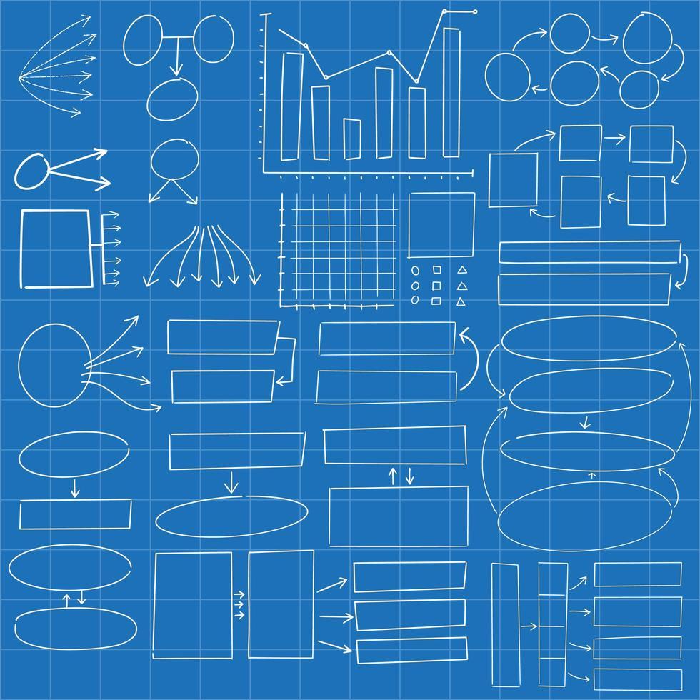 cercles et rectangles infographiques dessinés à la main vecteur