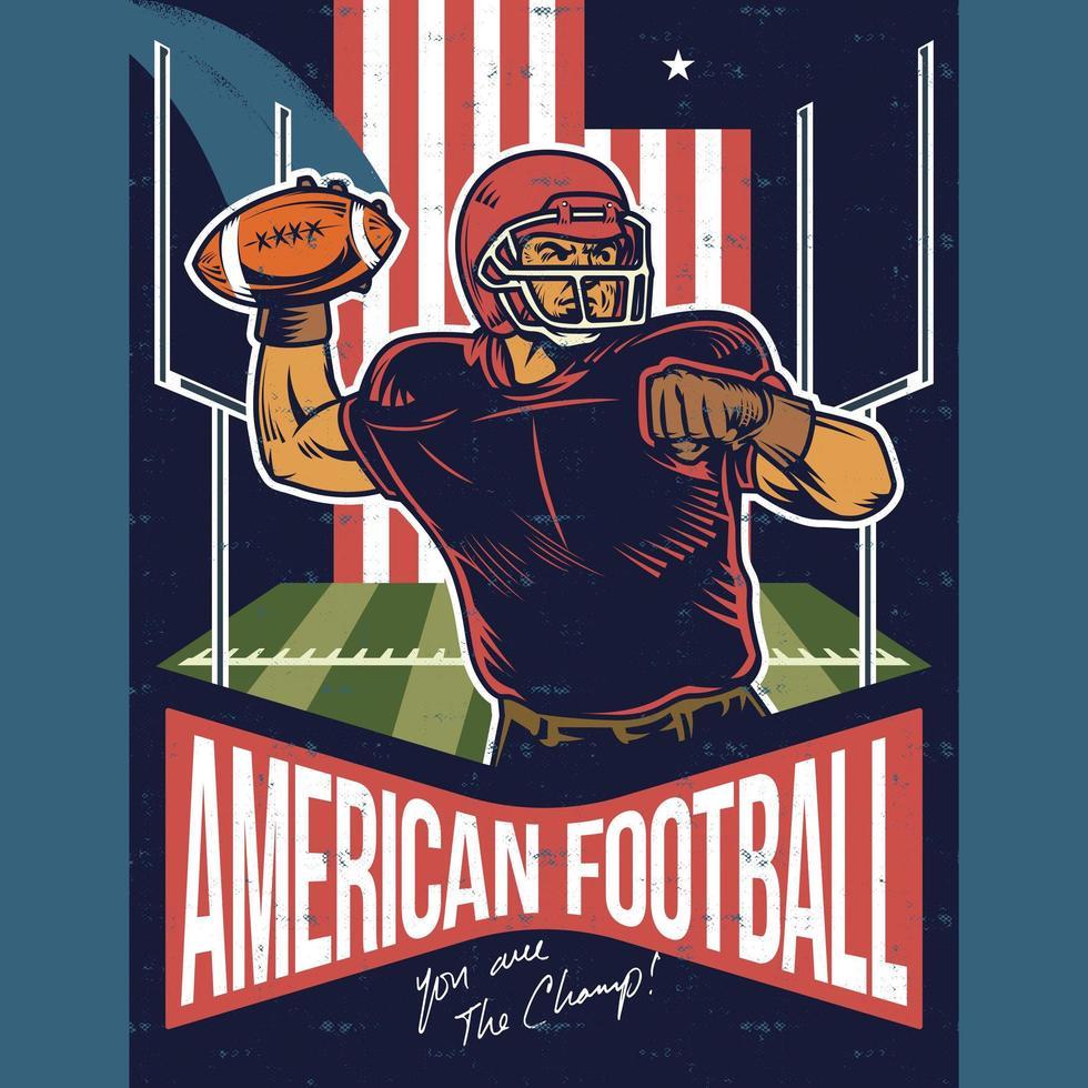 affiche vintage du joueur de football américain, lancer la balle vecteur