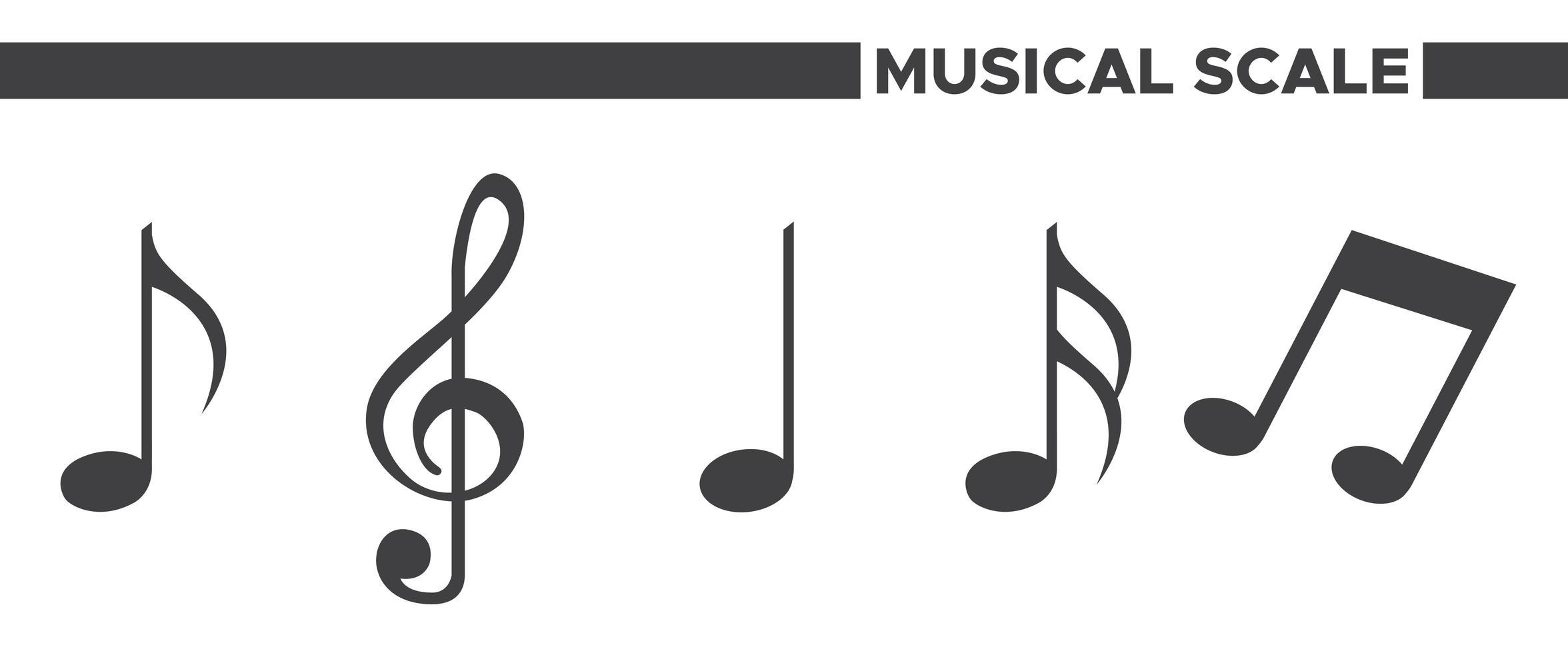 ensemble d'icônes d'échelle musicale vecteur