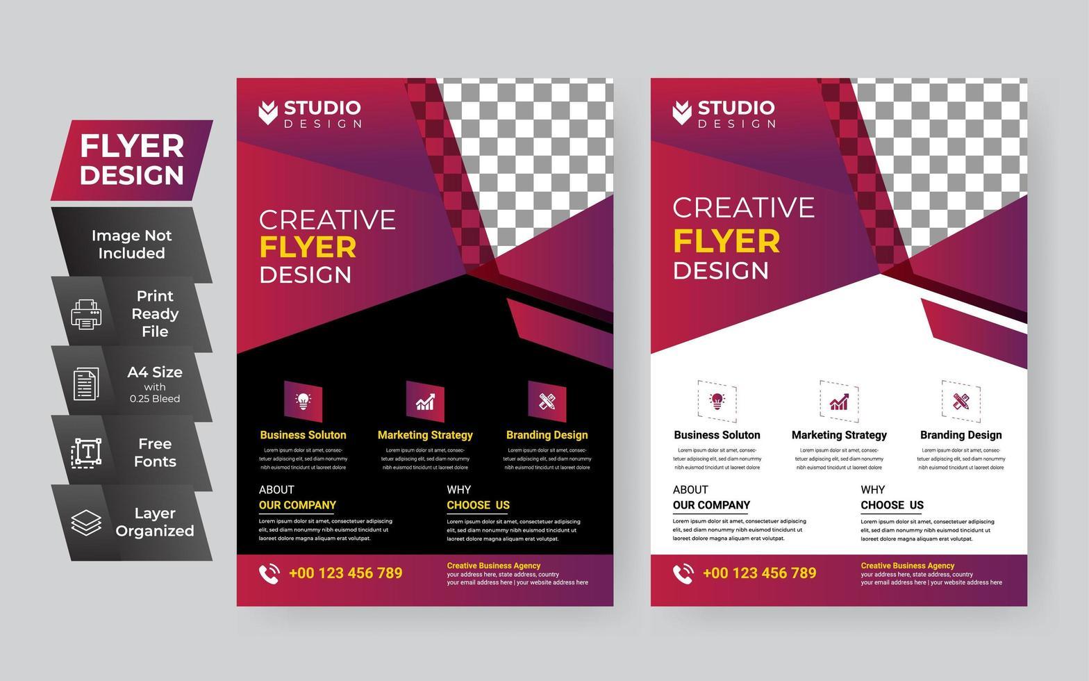 modèle de flyer créatif fuchsia entreprise vecteur