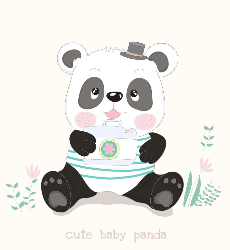 panda assis avec caméra vecteur