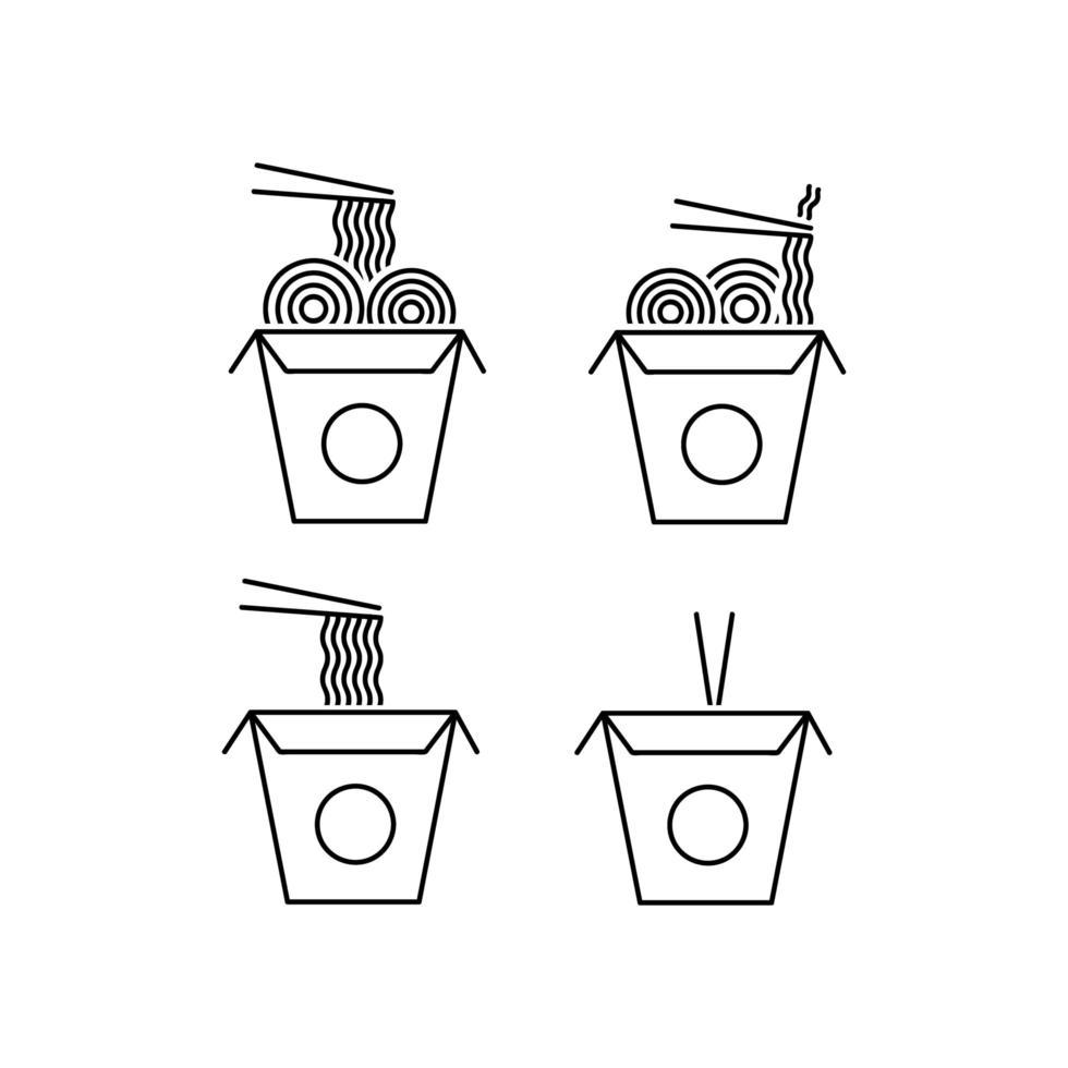 jeu d'icônes de nouilles à emporter vecteur