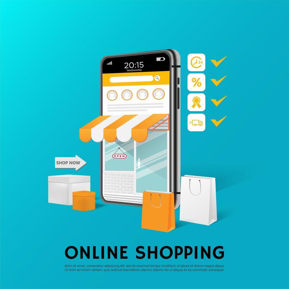 affiche de magasinage en ligne bleu et orange vecteur