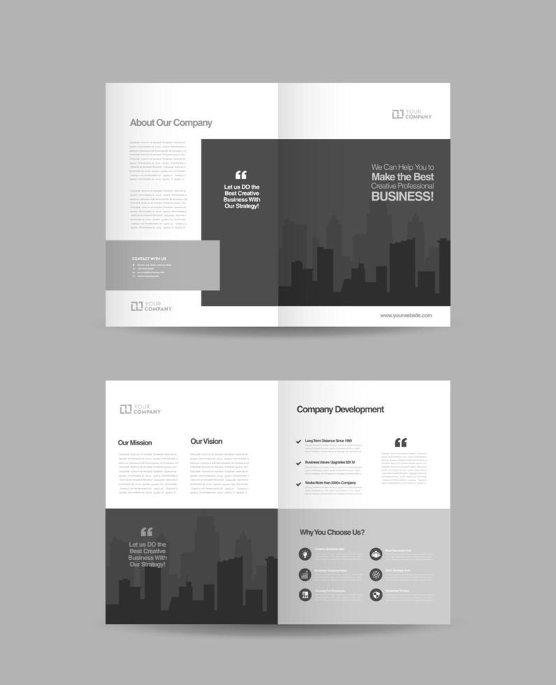 conception de brochure d'entreprise gris et blanc vecteur