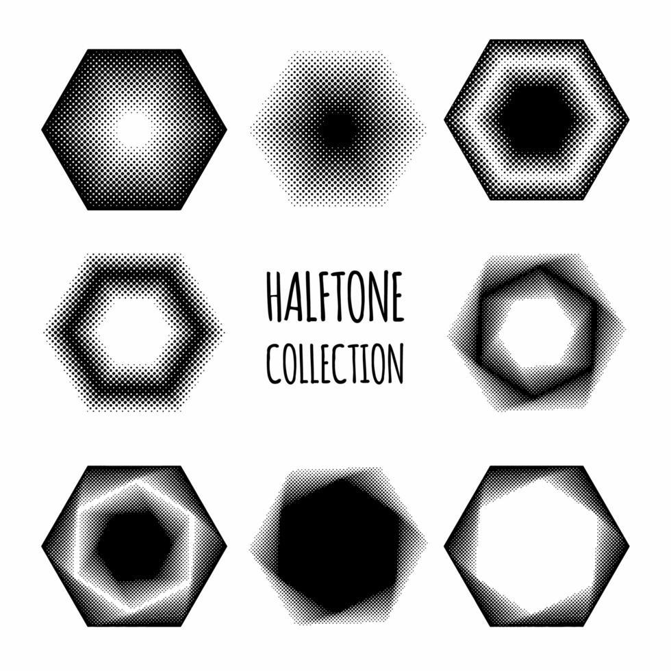 collection de motifs de demi-teintes hexagonales vecteur