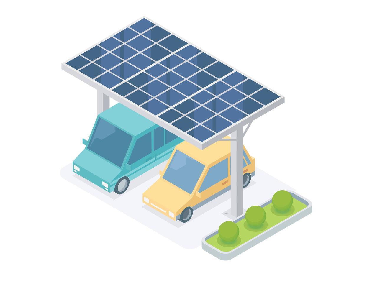 garage de voiture de cellule solaire vecteur