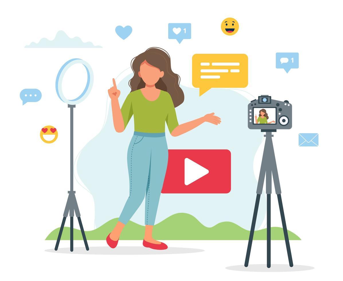 configuration de blogs vidéo avec enregistrement féminin vecteur