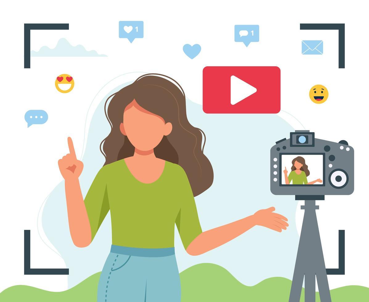 viseur, vue, femme, vidéo, blogueur vecteur