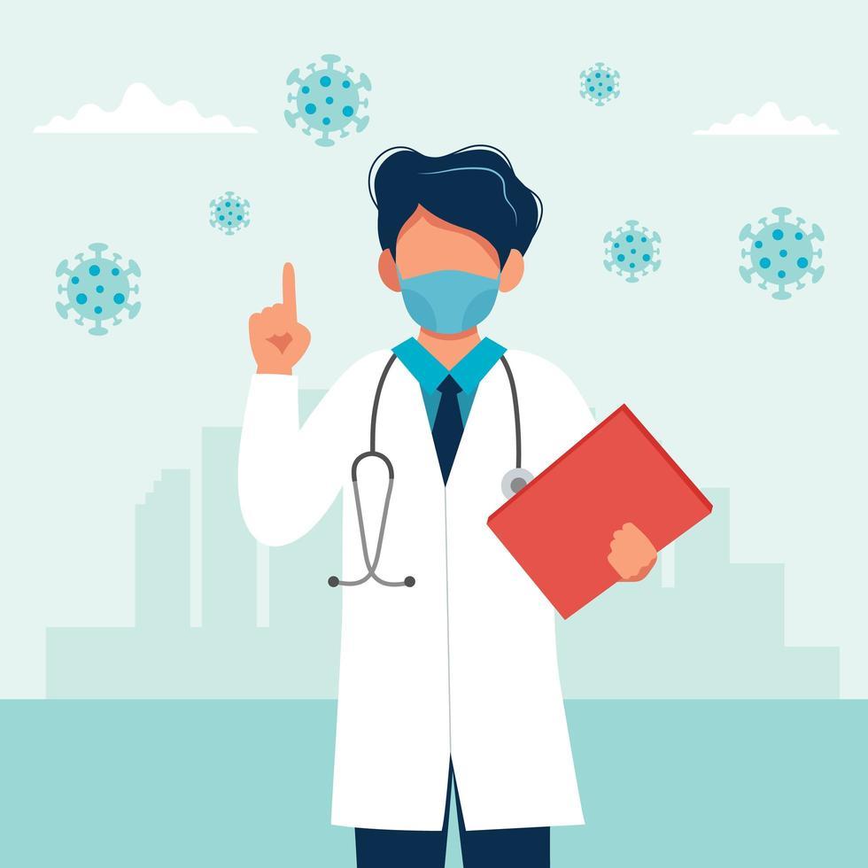 médecin de sexe masculin portant un masque médical vecteur
