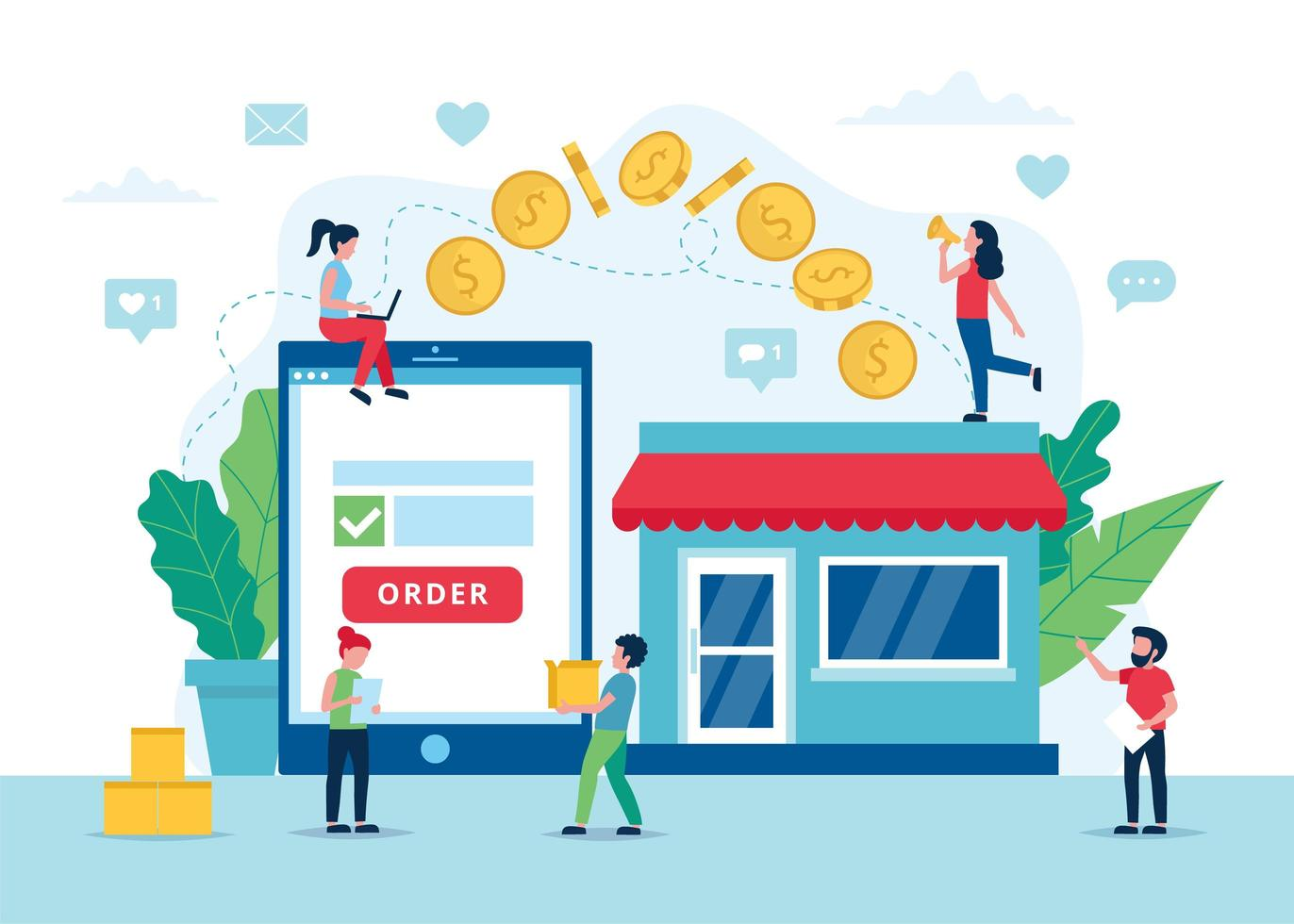 processus de paiement de commande en ligne avec tablette vecteur