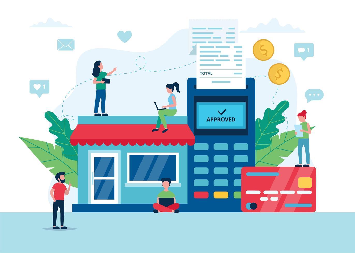 shopping concept en ligne avec terminal pos vecteur