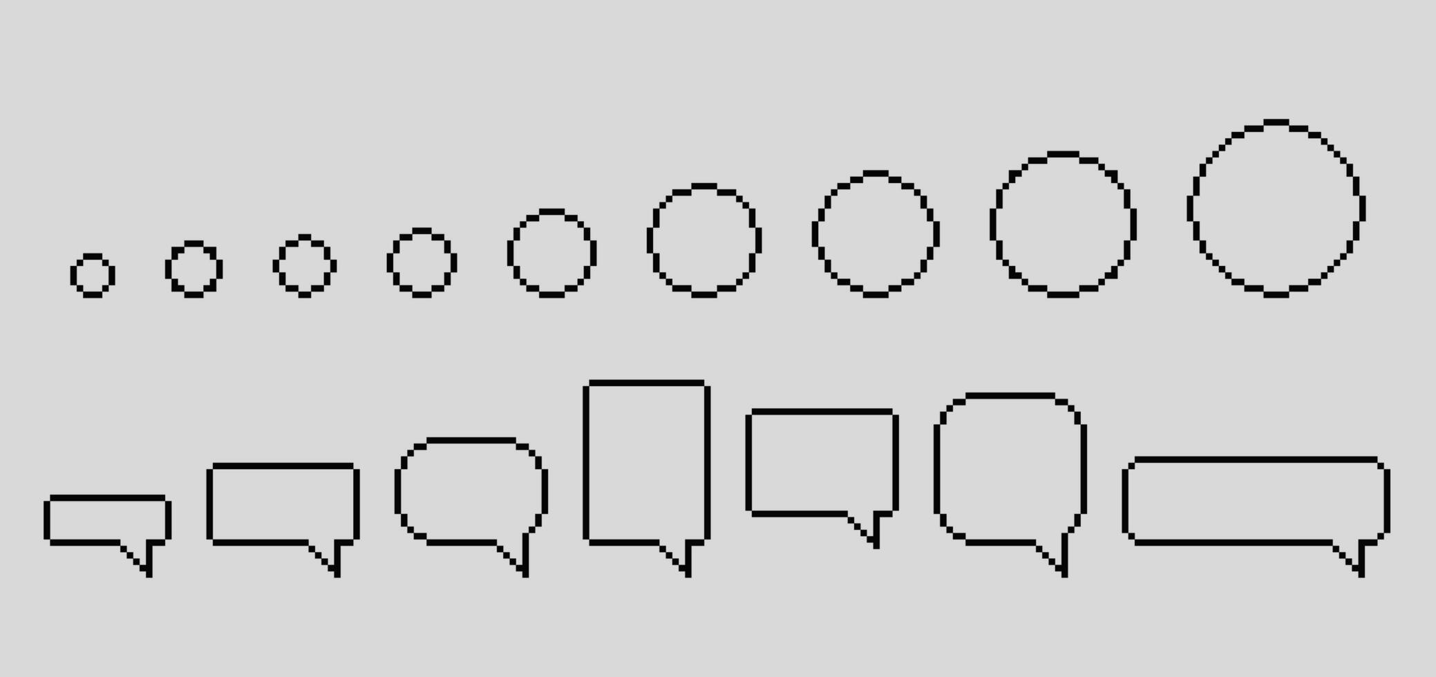 ensemble de bulles de pixels vecteur