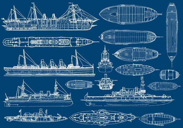 Avions pour bateaux et bateaux vecteur