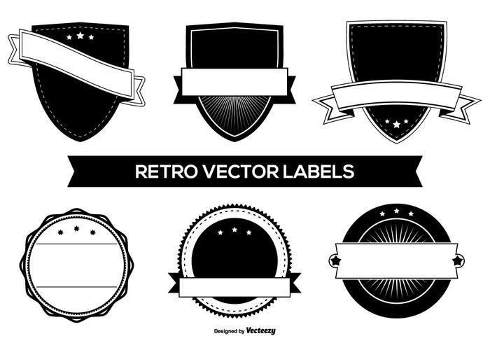 Badges de motifs rétro en blanc vecteur