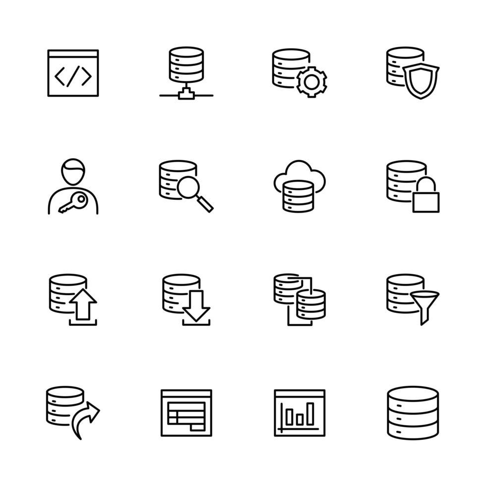 jeu d'icônes de ligne lié aux systèmes de base de données vecteur