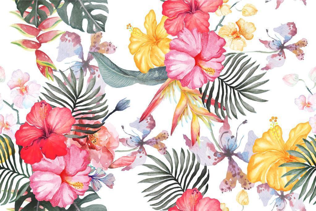 motif de fleurs d'hibiscus peint à l'aquarelle vecteur
