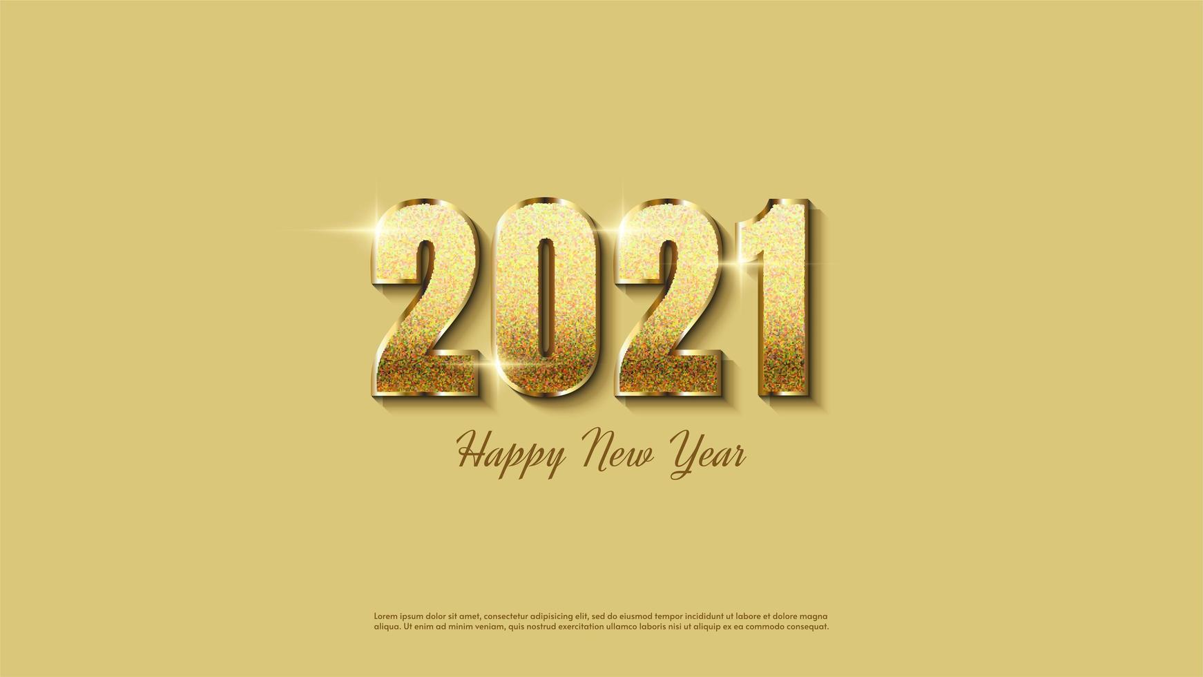 fond 2021 avec des paillettes d'or lumineuses vecteur