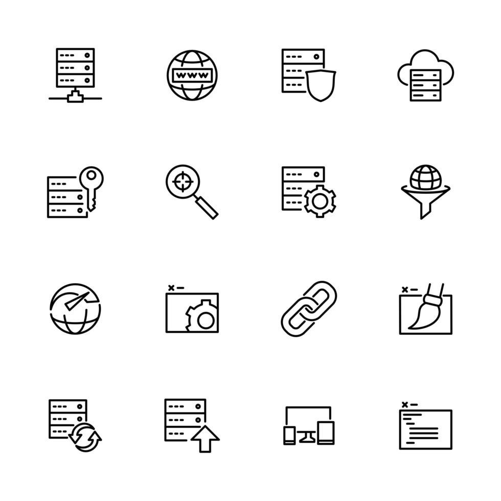 jeu d'icônes de ligne lié au service Web vecteur