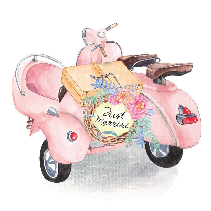 scooter pour mariage peint à l'aquarelle vecteur