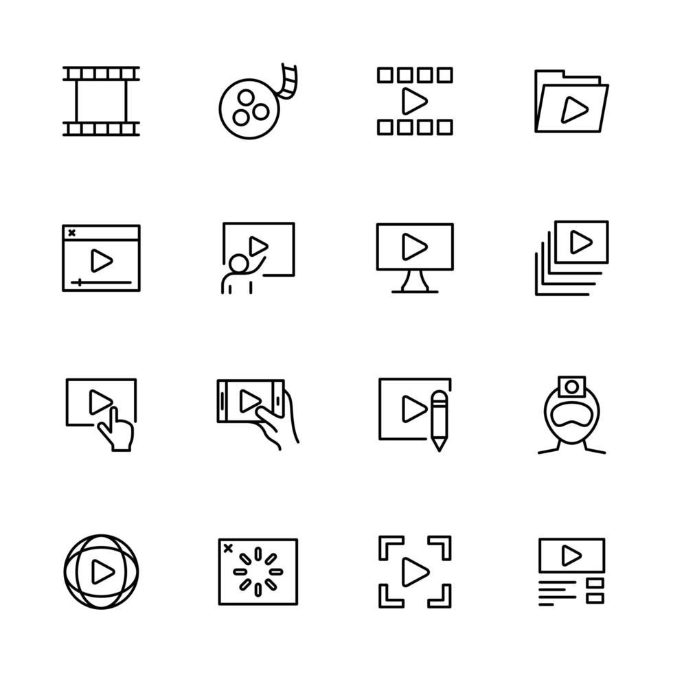 jeu d'icônes de ligne d'activité de production ou de publication vidéo vecteur