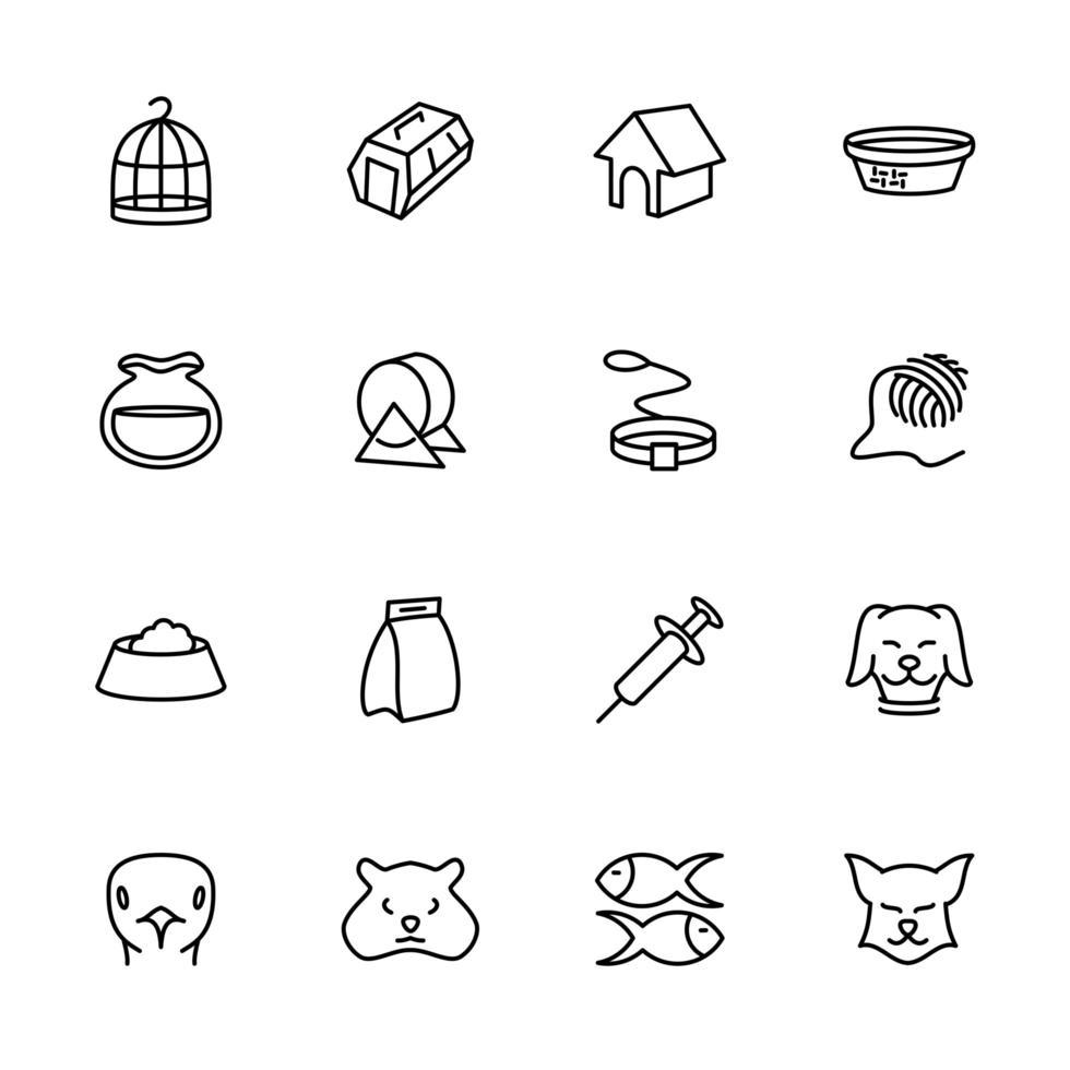 icônes de ligne définies pour les activités et les soins pour animaux de compagnie vecteur