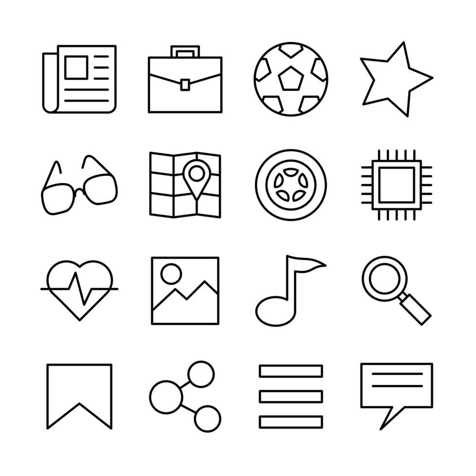 jeu d'icônes de ligne catégorie de boutons de site Web de nouvelles vecteur