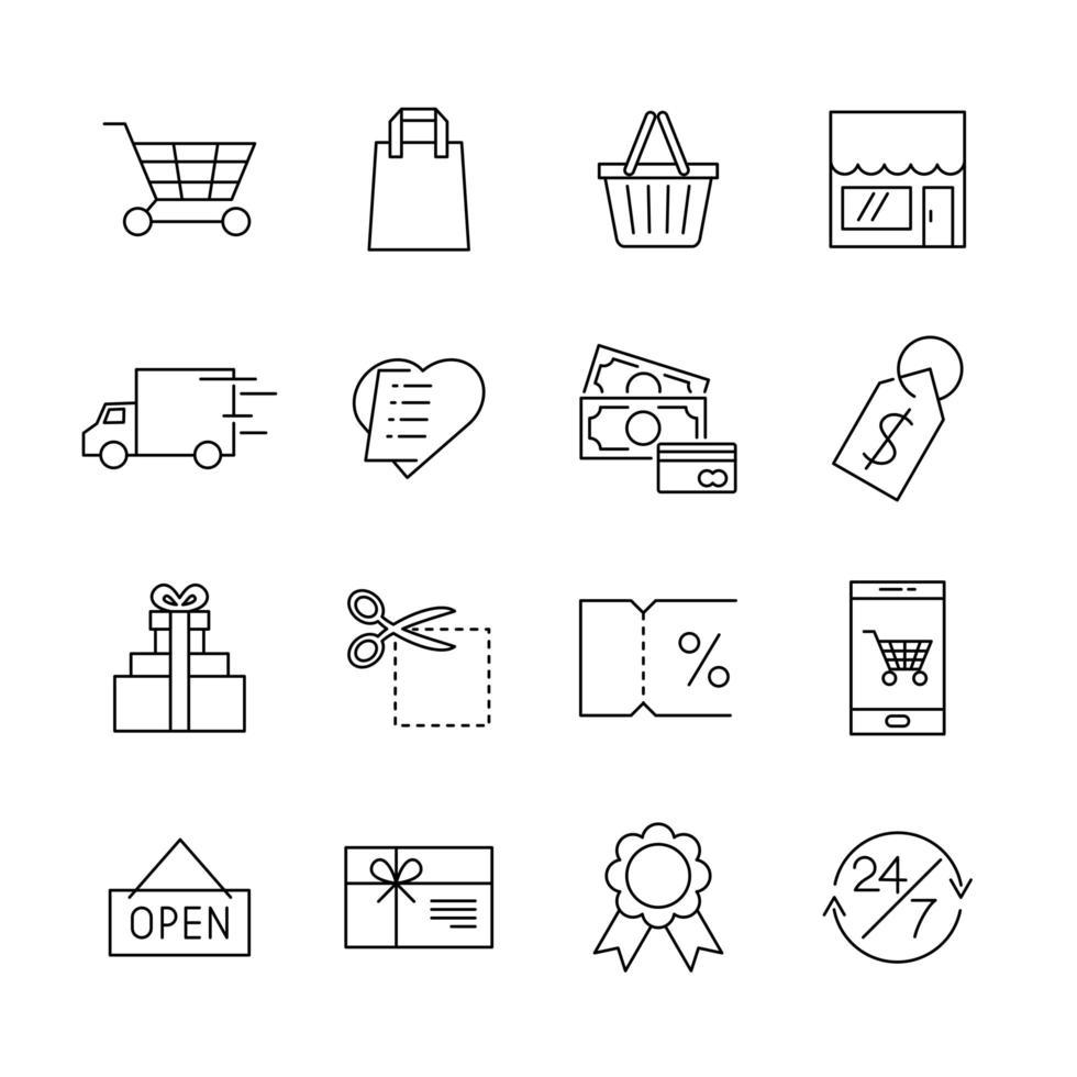 Icônes de ligne e-commerce pour boutique en ligne web ou mobile vecteur