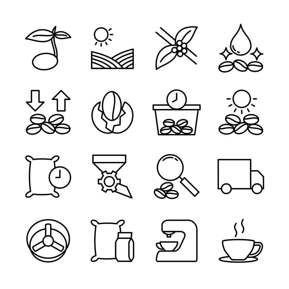icônes associées pour la production de café vecteur