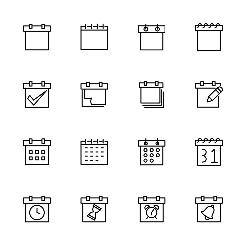 collection d'icônes de ligne pour la planification, le calendrier ou la date limite vecteur