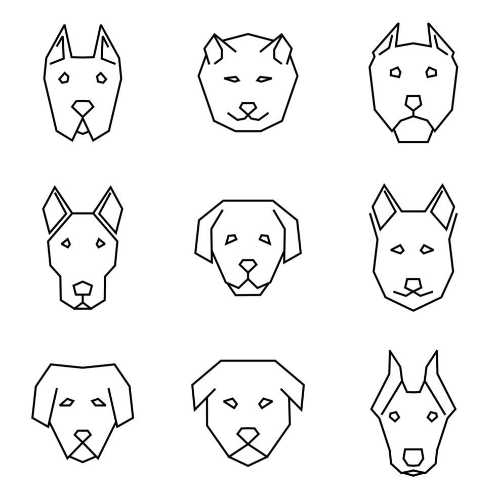 jeu d'icônes de ligne droite de visages de chiens vecteur